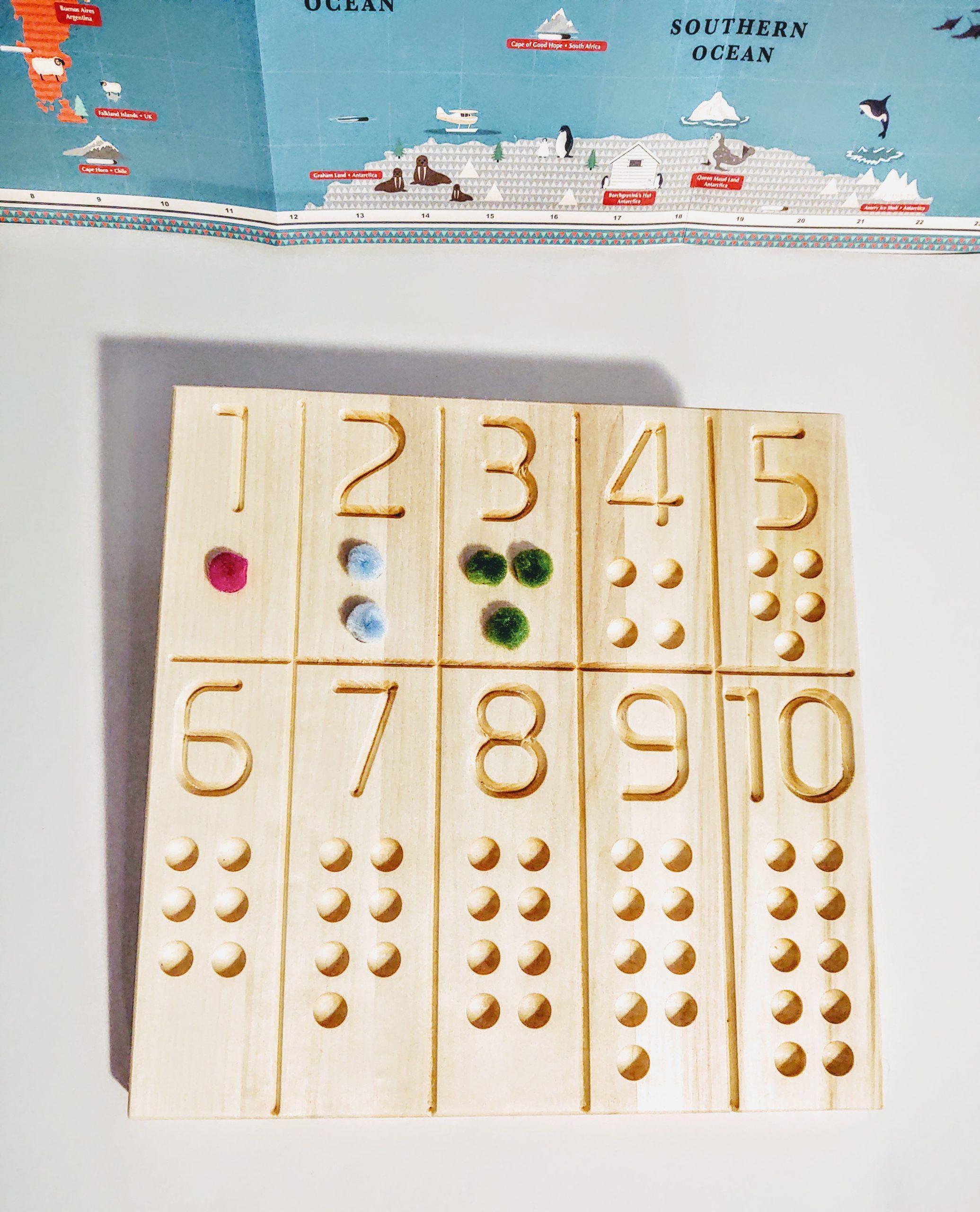 wood montessori number board